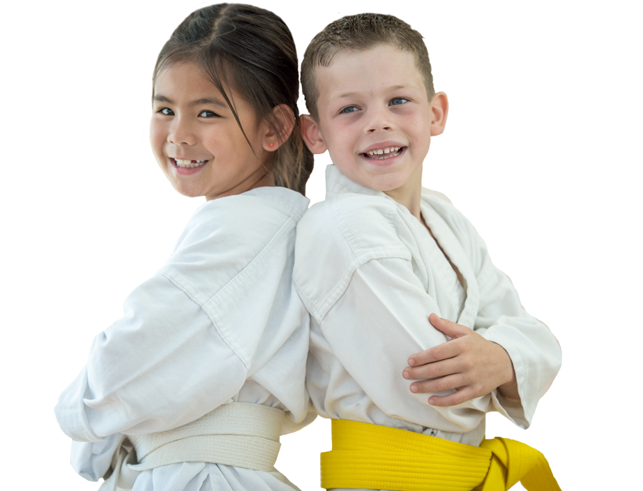 young girl and boy in martial arts uniforms