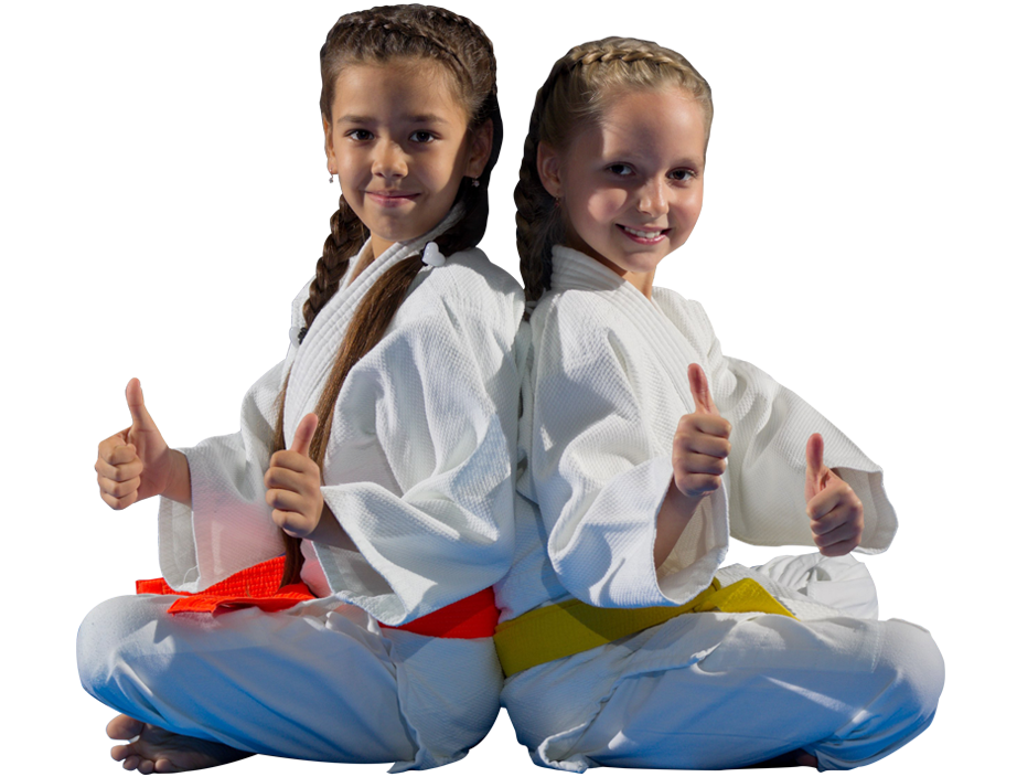 two martial arts students with thumbs up