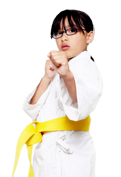 girl in a karate stance